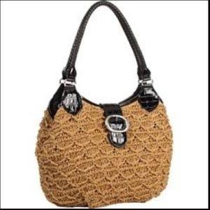 Brighton Natural Straw Black Leather RAVEN Handbag